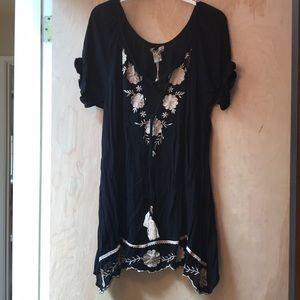 Boho Tunic Black with White/cream Embroidery, L/XL